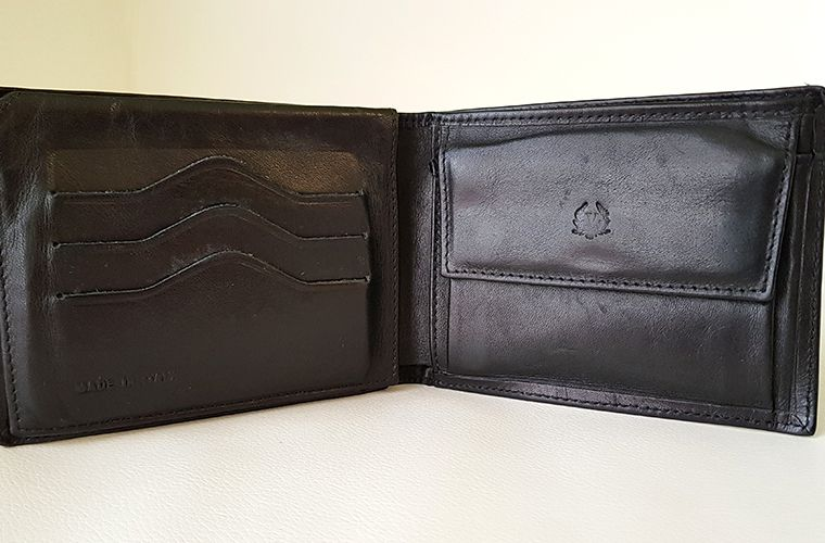 Mens Valentini Leather Wallet - Open