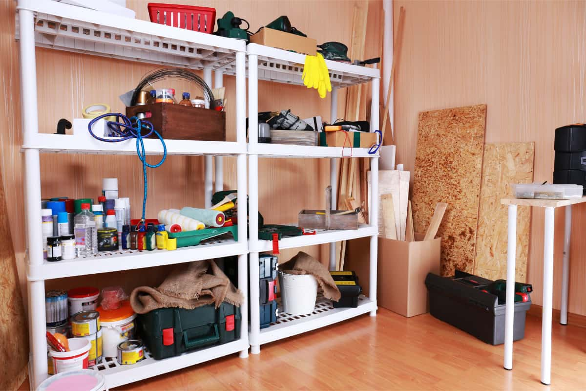 heavy duty shelves in a garage with workshop tools