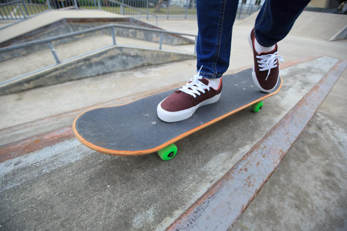 skateboarder with brown shoes
