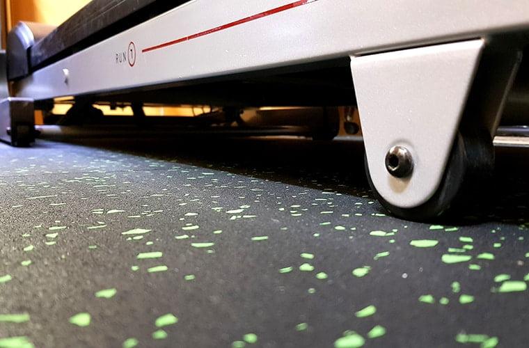 A rubber mat under a treadmill
