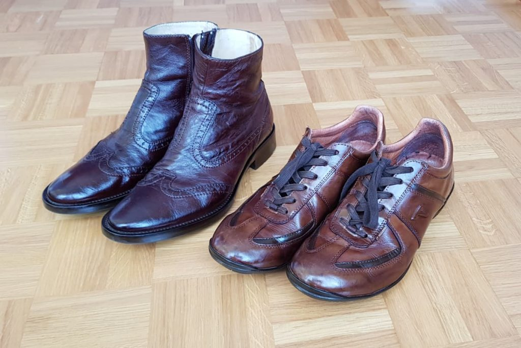 brown leather shoes and boots