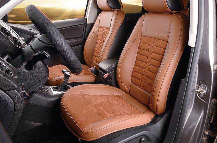 brown suede car seats