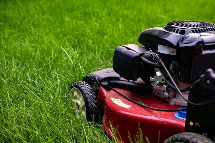 side view of a lawn mower