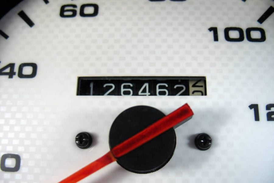white odometer in a car