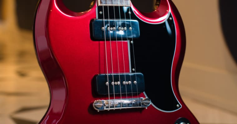 Red Gibson guitar