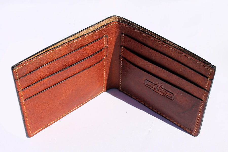 Main Street Forge Leather Bifold Wallet (Tobacco snakebite brown) - from above