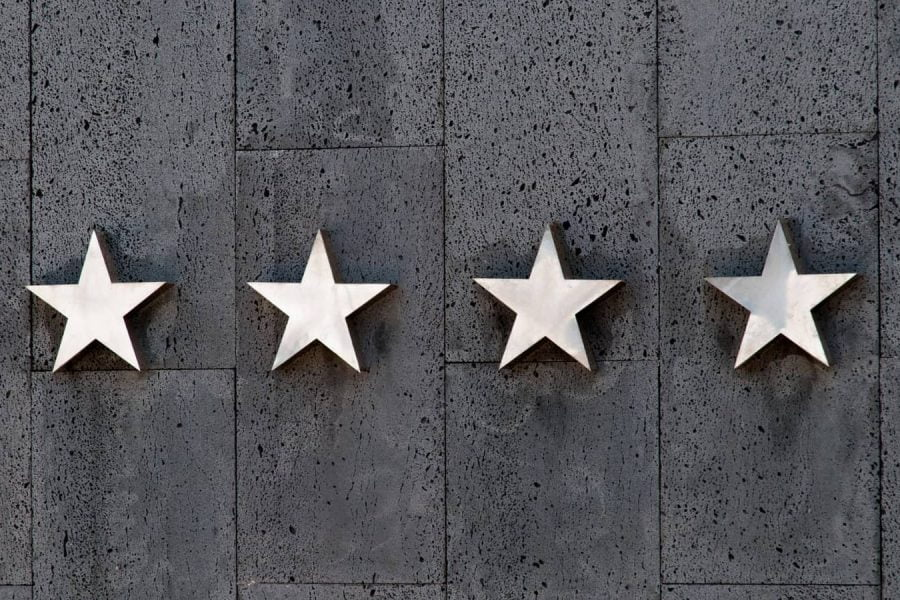 four stars on a hotel wall