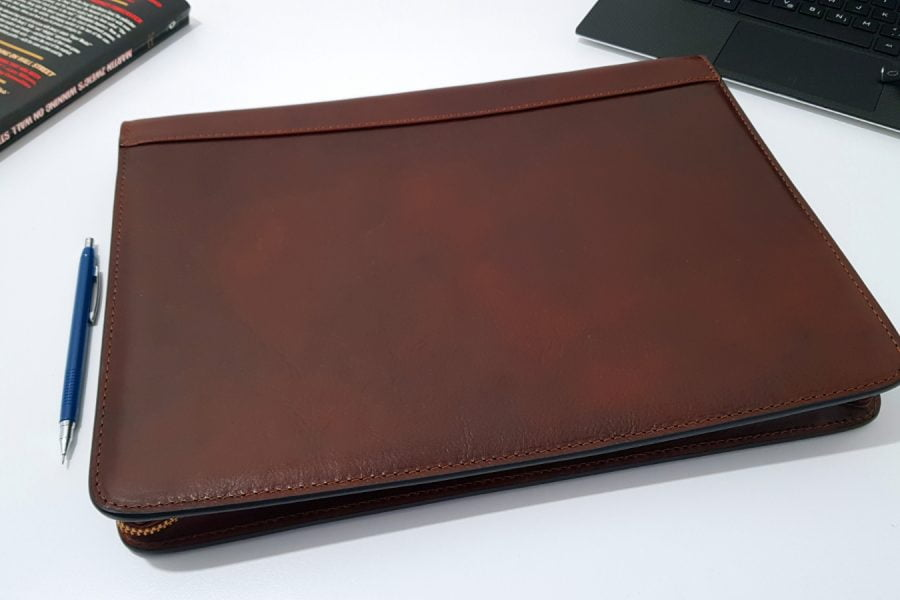 leather portfolio on table