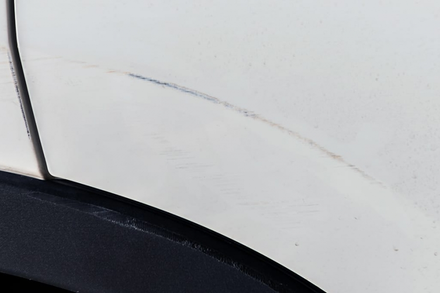 scratch on white car paint