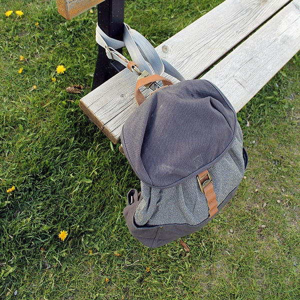 Loctote Cinch Pack - locked on a bench